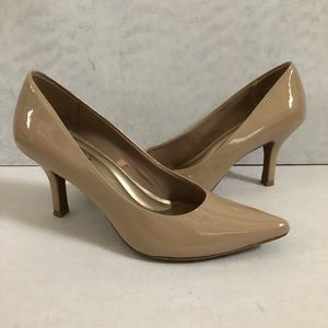 Pointed Toe Nude Patent Leather Pumps